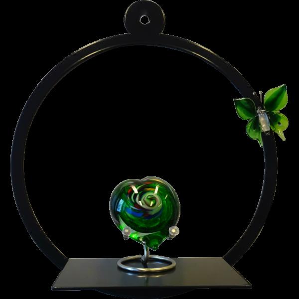 Wanddeco met hart urn en glasvlinder