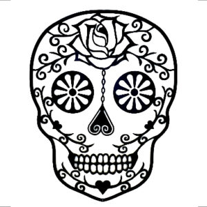 Sugar skull wanddecoratie zwart