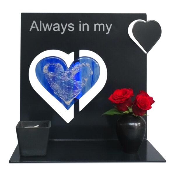 Gedenkobject met glas urn hart