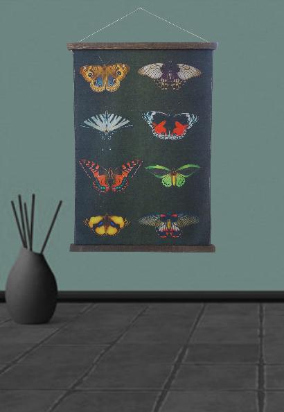 wandkleed met vlinders