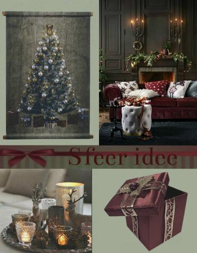 wandkleed kerstboom sfeer